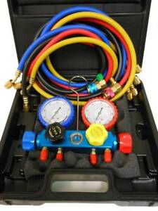 4 Way Manifold Vacuum Gauge Set R22 R134a R12 60 Hoses W Couplers 1002