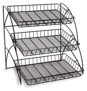 3 Tier Wire Tray Countertop Display Rack Literature Candy Snacks Chips Food