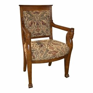 Vintage Solid Oak Egyptian Revival Chair W Tapestry Seat