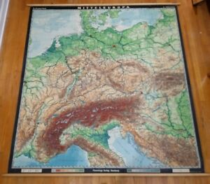 Beautiful Vintage Relief Map Central Europe Haack Physical School Wall Chart