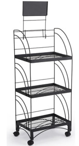 Mobile 3 Shelf Metal Wire Merchandise Floor Display Rack