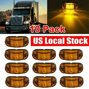 10 Pcs Amber Led Lamp 2 5 2 Diode Oval Clearance Car Truck Side Marker Light Us