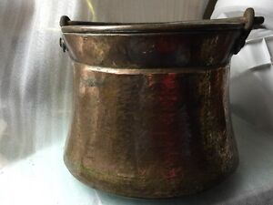 Vintage Antique Large Hammered Copper Cauldron Apple Butter Kettle Iron Handle