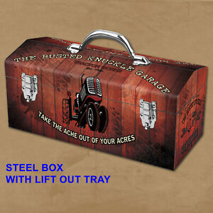 Portable Steel Farm Tractor Repair Mechanic Toolbox Busted Knuckle Garage