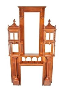 Remarkable 19th C Cook Mansion Aesthetic Movement Cherry Wood Mantel