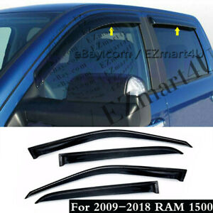 Fit 2009 2015 2016 2017 2018 Ram 1500 Crew Cab Window Visor Vent Rain Deflector