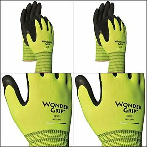 2 Pack High Visibility Knit Work Gloves Double Coated Black Grip Latex Palm Xl