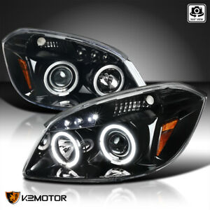 For Jet Black 2005 2010 Chevy Cobalt 2007 2009 G5 Halo Projector Headlights