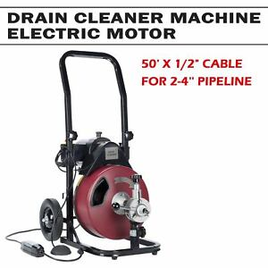 50ft 1 2 Drain Cleaner Machine Auger Pipe Local Snake Sewer Clog W cutter