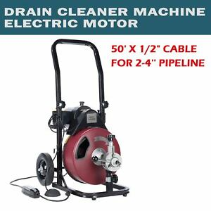 Drain Auger Pipe Cleaner Machine Sewer Snake Drill Drain Cleaner 50ft 1 2
