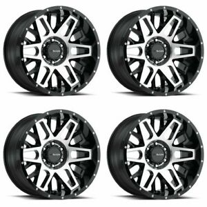 Set 4 20 Vision 388 Shadow Black Machined Wheels 20x10 6x135 25mm Lifted 6 Lug