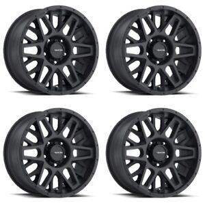 Set 4 20 Vision 388 Shadow Black Rims 20x10 6x5 5 25mm Lifted Chevy Gmc 6 Lug