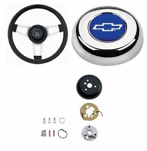 Grant 13 75 Silver Steering Wheel installation Kit bowtie Horn Button For Luv