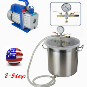 Top 5 Gallon Vacuum Degassing Chamber Silicone Kit W 3 Cfm Pump Usa Ca Stock