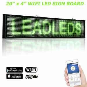 New 20 X 4 Inches Wifi Led Scrolling Message Sign Display Board green Led