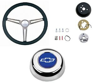 Grant 15 Nostalgia Black Steering Wheel installation Kit horn Button For Impala