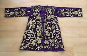 Antique Ottoman Turkish Heavily Gold Metallic Hand Embroideried Long Jacket