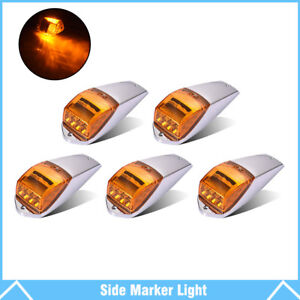 5pcs Amber Chrome 17 Led Cab Marker Lights For Peterbilt Kenworth Freightliner