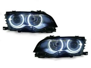 Uhp Led Angel Eye Projector Headlight For 02 03 Bmw E46 3 Series Coupe Cabrio