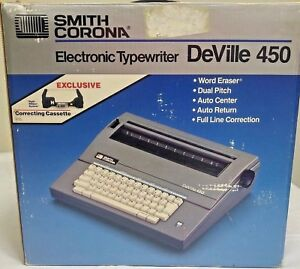 Smith Corona Deville 450 Portable Electric Correcting Typewriter With Manual