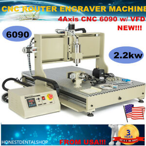 Usb 2 2kw Vfd Cnc Router 4axis 6090 Engraver Milling Drilling Machine Metal Us