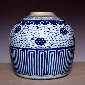 Large Chinese Qing Dynasty Kangxi Blue And White Old Pot Porcelain Jar Jz002