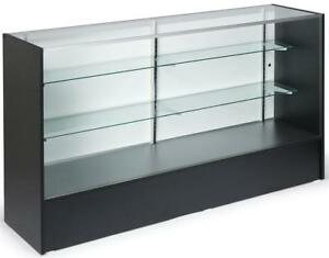 70 Black Retail Store Counter Display Showcase W Adjustable Glass Shelves