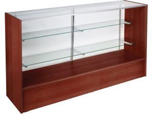 70 Cherry Retail Store Counter Display Showcase W Adjustable Glass Shelves
