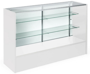 58 White Retail Store Counter Display Showcase W Adjustable Glass Shelves