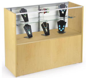 48 Maple Retail Counter Display Showcase W Cabinet Base Adjustable Glass Shelf