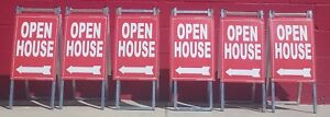 Vinyl Pvc Real Estate Sign Post open House Sign Mini 6 Pack Kit Blue Or Red Sign