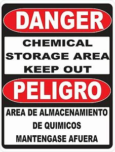 Bilingual Danger Chemical Storage Sign Size Options English Spanish Safety