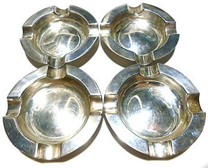 James Dixon And Sons English Sterling Silver Lot Set Of 4 Cigarette Ashtray S