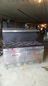 Vulcan Commercial Gas 10 Burner Stove Range W Double Oven 1 Snorkel Convection