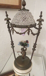 Antique Czech Glass Bronze Cherub Boudoir Table Lamp On Marble Base