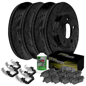 Full Kit Black Hart Drilled Slotted Brake Rotors And Ceramic Pad Bhcc 66067 02