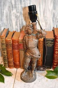 Antique French Cavalier Blowing Horn Table Lamp Coppered Spelter Metal