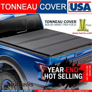 Fits 2004 2020 Ford F150 5 5ft Bed Lock Solid Hard Tri fold Tonneau Cover Bed