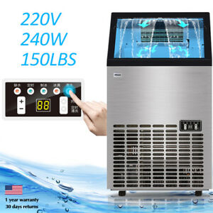 220v 240w Commercial Automatic Ice Cube Maker Machine 68kg 150lbs Restaurant Bin