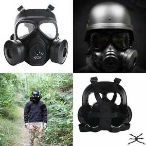 Airsoft Full Mask W Dual Filter Fans Skull Face Guard For Dust Cs Edition Outdoo