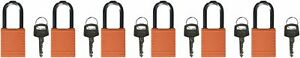 Brady 123270 Lockout Padlock Keyed Alike 1 4 Orange pack Of 6