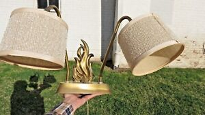 Mid Century Modern Wall Hanging Lamp 2 Light Sconce Torch Flame Painting Desk