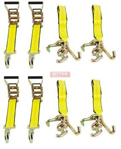 4 Pack 2 X 8 Rtj Cluster Ratchet Straps Car Hauler Tow Wrecker Straps