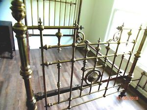 Antique Original Victorian Real Brass Bed Full Q Cast Iron 100 Years Old