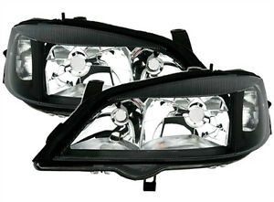 Black Clear Finish Headlight Front Light Set For Opel Astra G 98 05