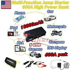 600a Lcd Car Jump Starter Portable Auto Battery Charger Power Bank Booster Red
