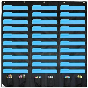30 Pocket Storage Pocket Chart And Hanging Wall File Organizer With 6 Accesso