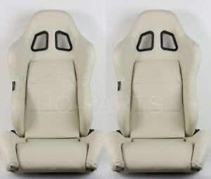 2 X Tanaka Universal Beige Pvc Leather Racing Seat Dual Recliner Back Pocket