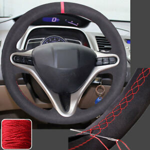 Needle Sew Steering Wheel Cover Hand Stitch On Wrap For 2006 2011 Honda Civic