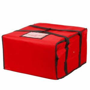 Choice 20 X 20 X 12 Red Nylon Insulated Pizza Delivery Bag Holds Up To